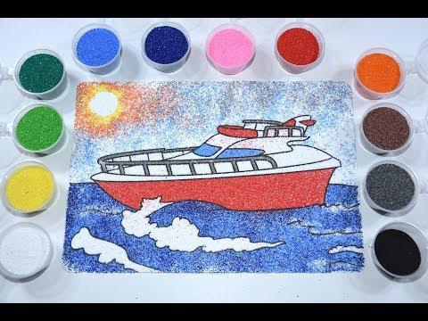Раскраска для детей  Учим цвета  Раскраска песком  Как раскрасить корабль  Детское видео