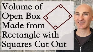 Volume of Open Box Made From Rectangle with Squares Cut Out