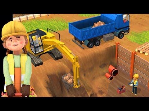 เกมส์รถแม็คโครตักดิน รถโม่ปูน รถดั้ม รถเครน การ์ตูนการทำงานรถก่อสร้าง working machines for children