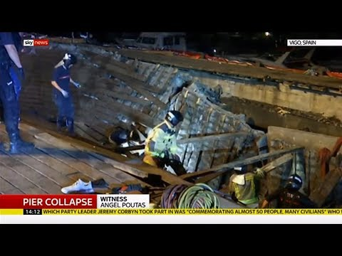 Wooden pier collapses at festival (Spain) - Sky News - 13th August 2018