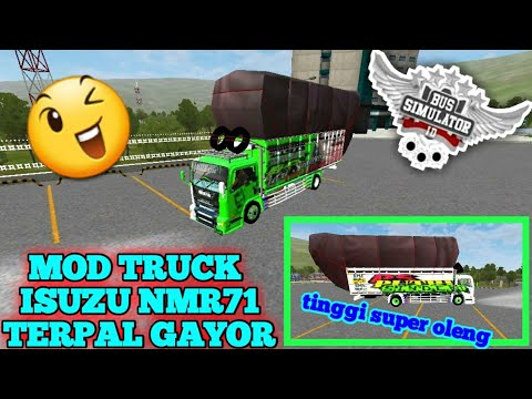 LUMREVIEW》》REVIEW MOD BUSSID# mod truck ISUZU NMR71 TERPAL GAYOR(free download)👍👍