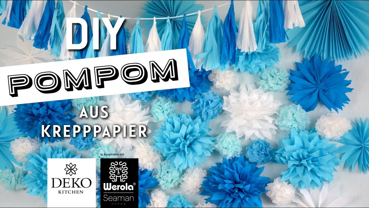 diy pompoms rosetten aus krepppapier how to deko kitchen in kooperation mit werola youtube. Black Bedroom Furniture Sets. Home Design Ideas