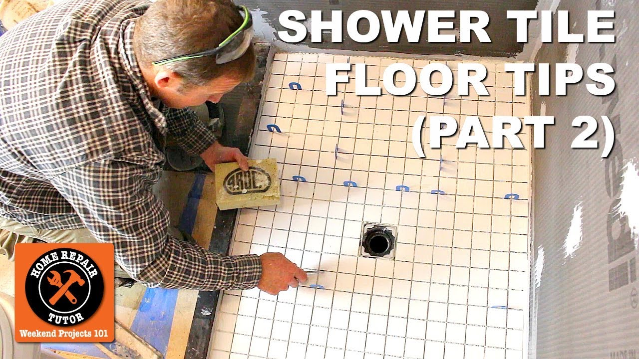 How to Tile a Shower Floor (Part 2: Setting 2x2 Tiles) - YouTube