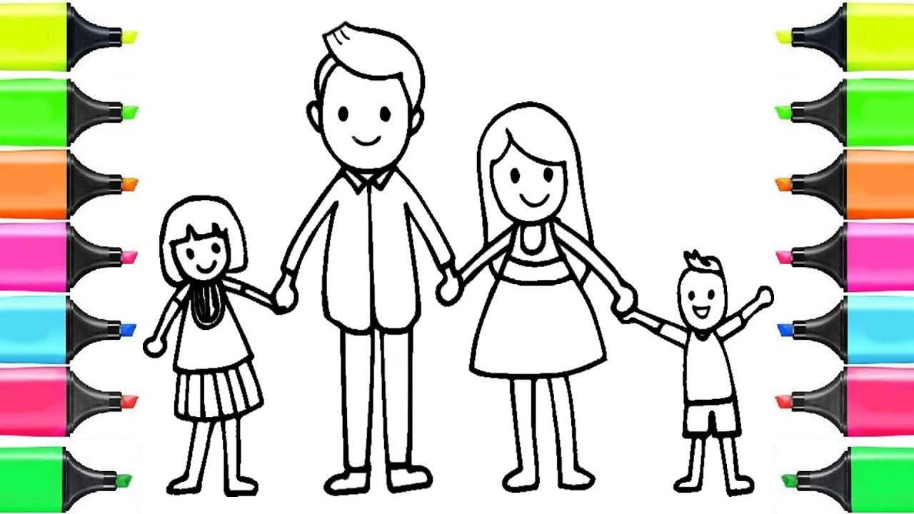 How to Draw Happy Family for KIDS - Learn Coloring Page ...