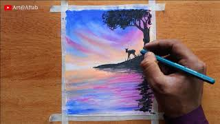Beautiful Nature scenery drawing with oil pastels Oil pastel drawing for     beginners