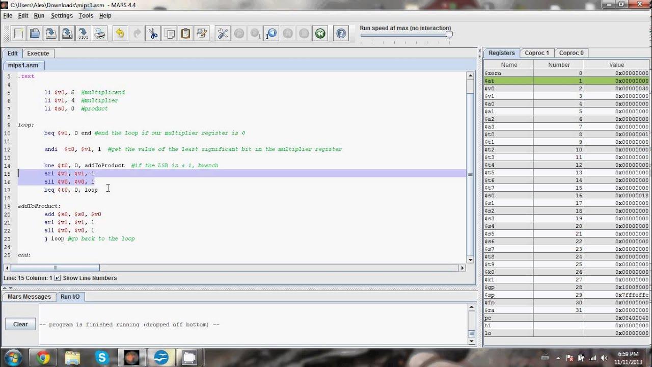 MIPS multiplication simulator