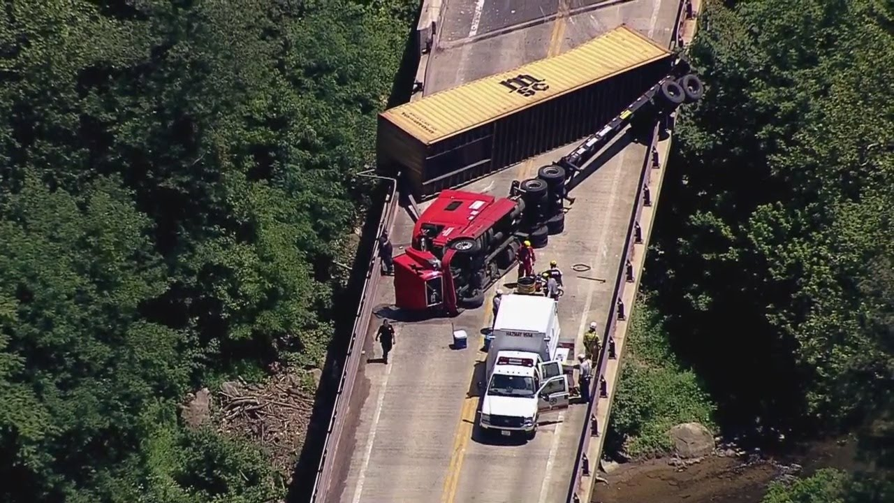 Chopper 13 Is Over An Overturned Tractor Trailer On Deer Creek Bridge In  Harford County