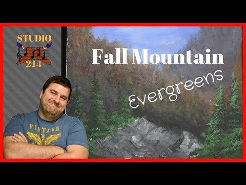 Fall Mountain Evergreens -Acrylic Painting Tutorial for Beginners  STUDIO-214