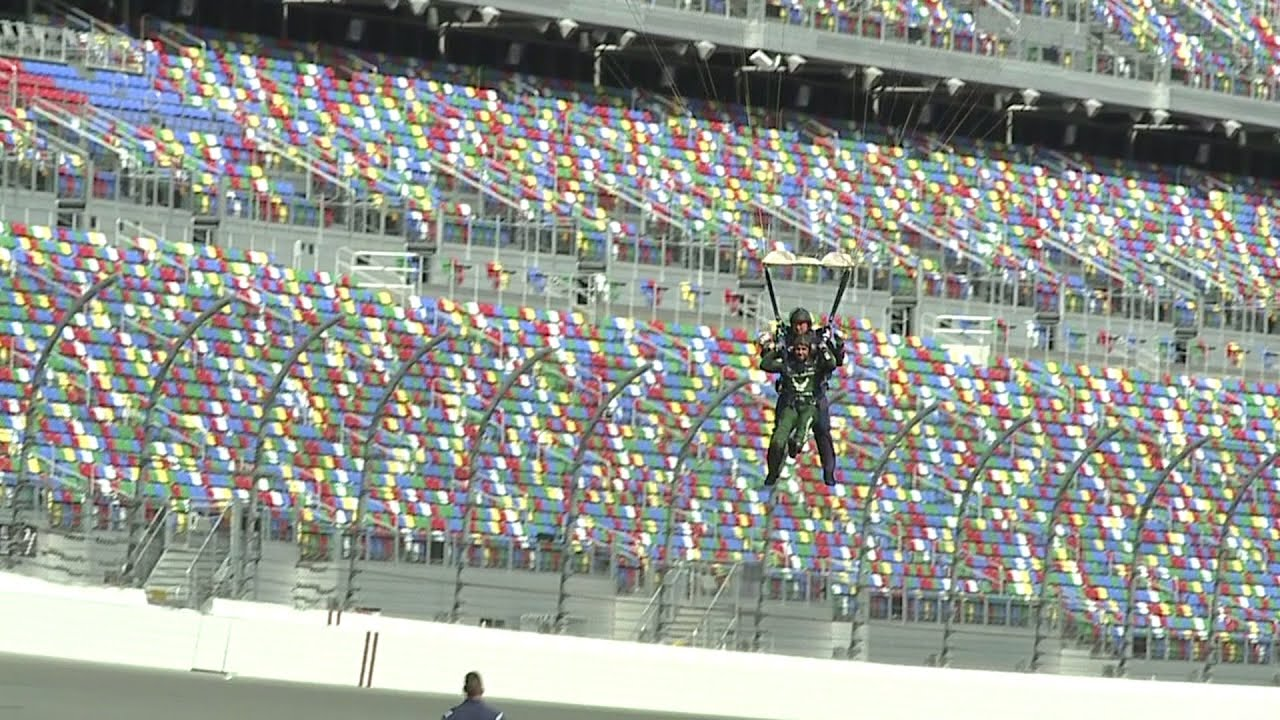 WATCH: NASCAR driver Bubba Wallace skydived into the Daytona ...