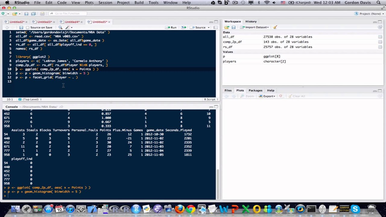 R Programming Tutorial 24: NBA Data, Point Histograms