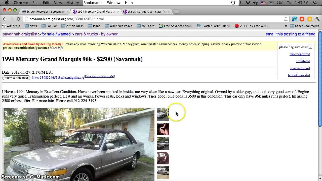 Craigslist Savannah GA Used Cars, Trucks and Vans for Sale by Owner ...
