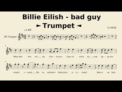 Billie Eilish - Bad Guy (Trumpet) [Sheet Music // Cover By Mace]