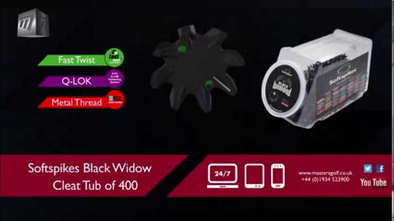 8e2794602 Masters Golf - Softspikes Black Widow Cleat Tub of 400 SASB15 - YouTube