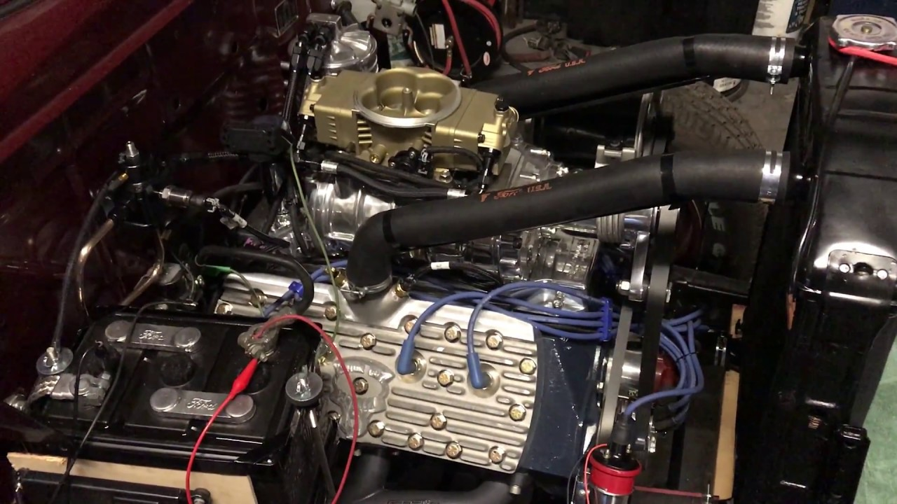 First engine start of supercharged Ford 59AB Flathead with Holley EFI