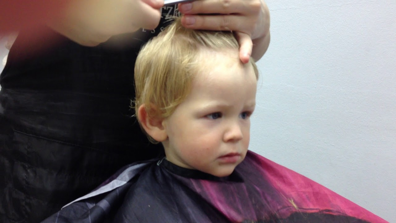 First Haircut For A 1 Year Old Toddler At The Hairdresser Youtube