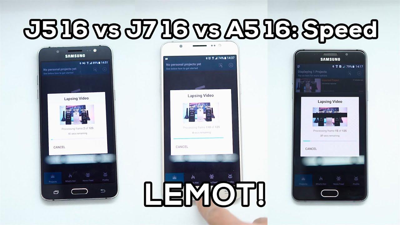 Samsung Galaxy J5 2016 Vs J7 2016 Vs A5 2016 Part 2 Speed