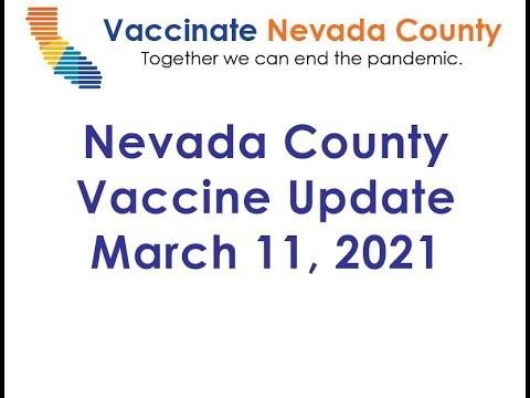 Nevada County Vaccine Update March 11, 2021