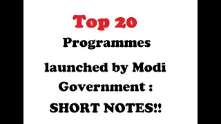 Short Notes on MODI Government Schemes