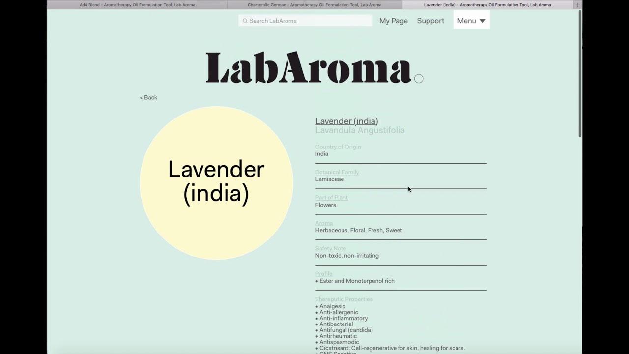 Aromatherapy Oil Formulation Tool, Lab Aroma