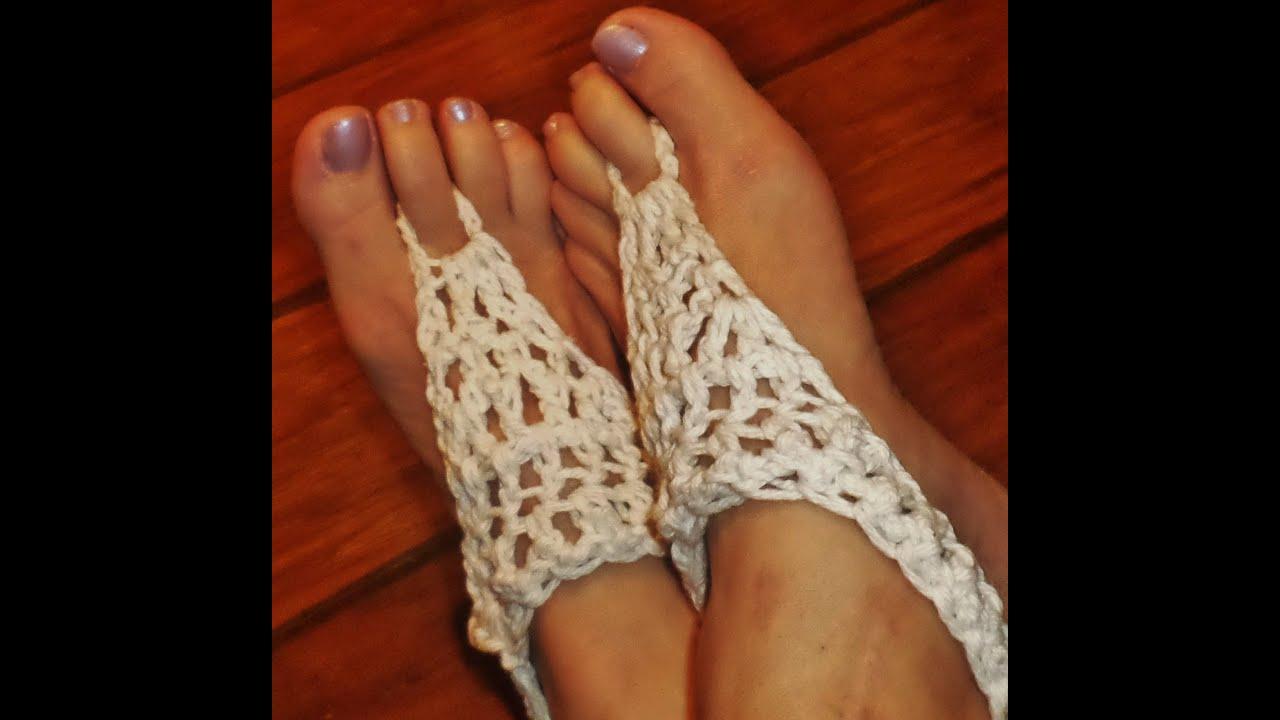 Crochet Barefoot Sandal Tutorial For Adult Size Youtube