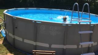 """16"""" Intex UltraFrame Pool with Modified Filter and Skimmer setup."""