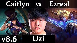 RNG Uzi - CAITLYN vs EZREAL (ADC) /// Korea Challenger /// Patch 8.6