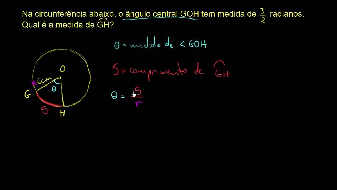 Exemplo: Medida em radiano e comprimento do arco - YouTube