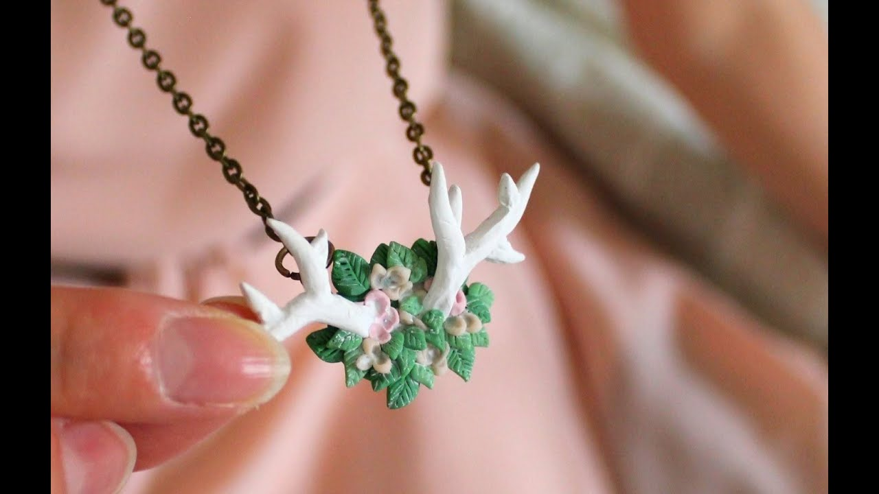 Diy flowery antler necklace polymer clay tutorial youtube audiocablefo Light database