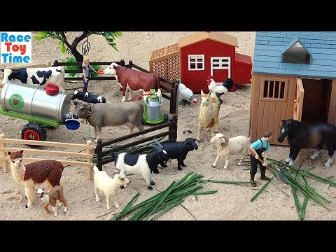 Cattle Transport Truck Toy Farm Plus Fun Toy Animals Video