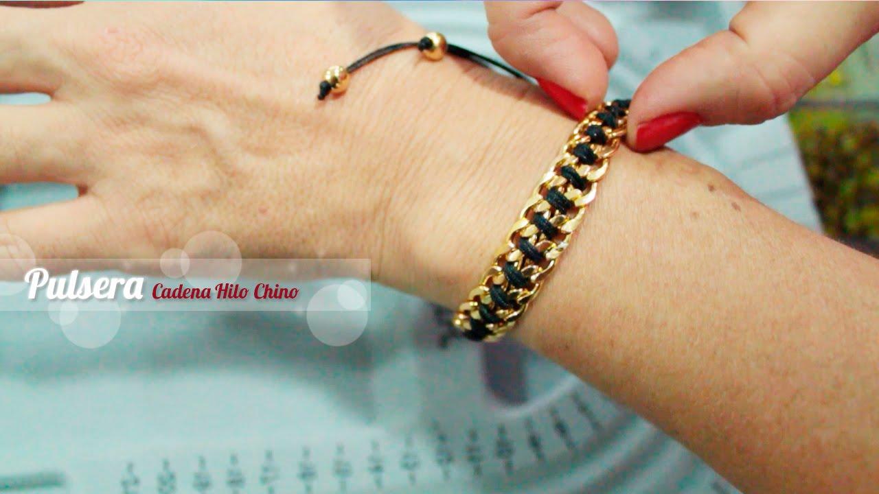 92d067df9883 Como hacer una Pulsera en cadena e hilo chino negro - YouTube