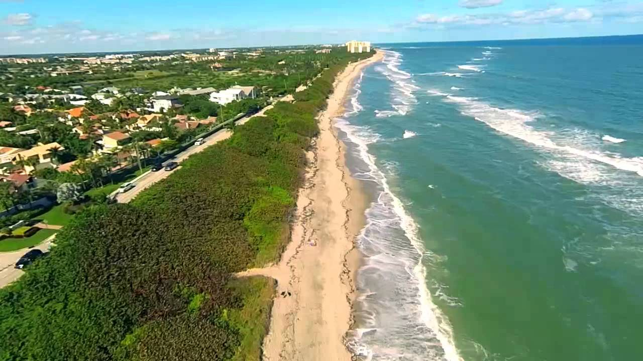 Jupiter Fl Beaches Lighthouse And Inlet Aerial Movie