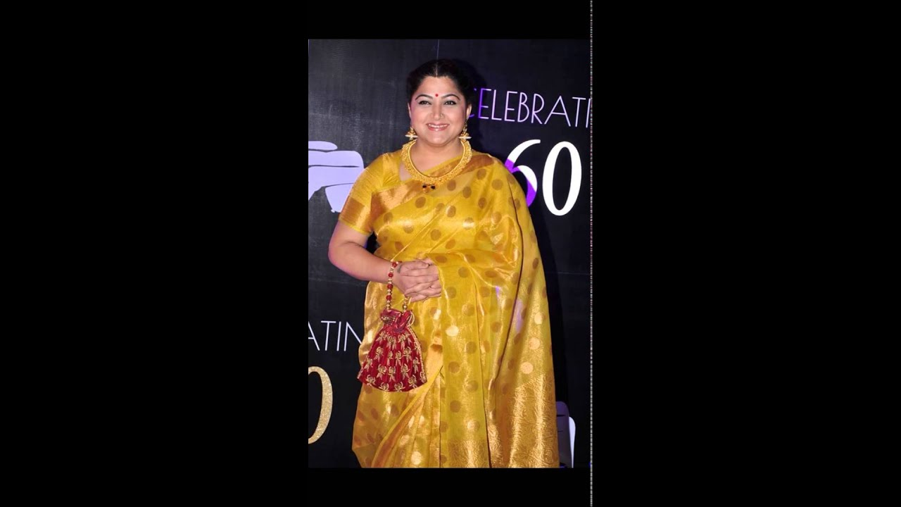 Tamil Actress Kushboo Aunti In Gold Color Tussar Silk Saree Video