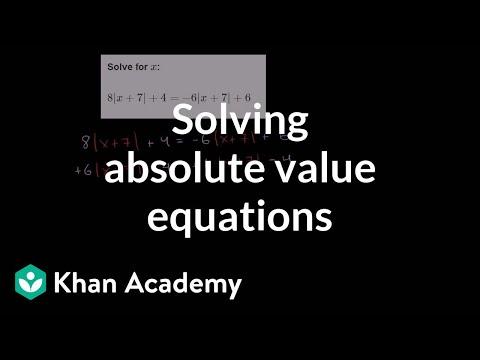 Absolute value equation example | Linear equations | Algebra I | Khan Academy