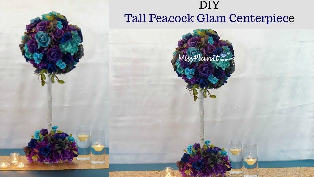 Diy Tall Peacock Blossom Tree Wedding Centerpiece Tall Glam