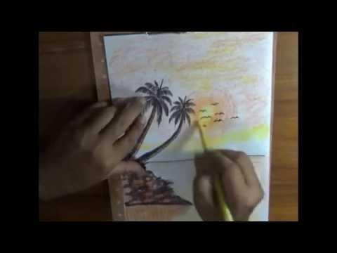 Cara Menggambar Pemandangan Pantai Senja Hari Youtube