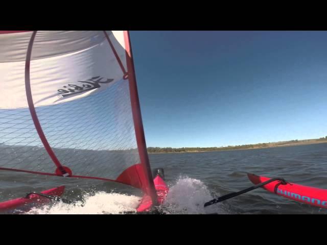Hobie Adventure Island in high winds speed sailing