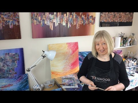 Semi-abstract landscape painting reveal by artist Jayne Leighton Herd