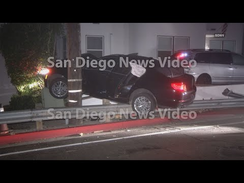 Driver flees scene after crashing car into guardrail & cable box in Point Loma