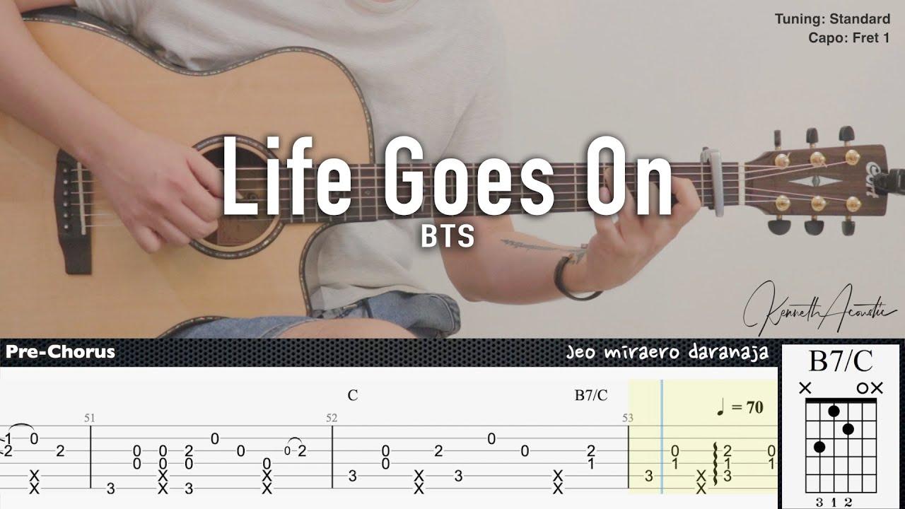 Life Goes On - BTS | Fingerstyle Guitar | TAB + Chords + Lyrics