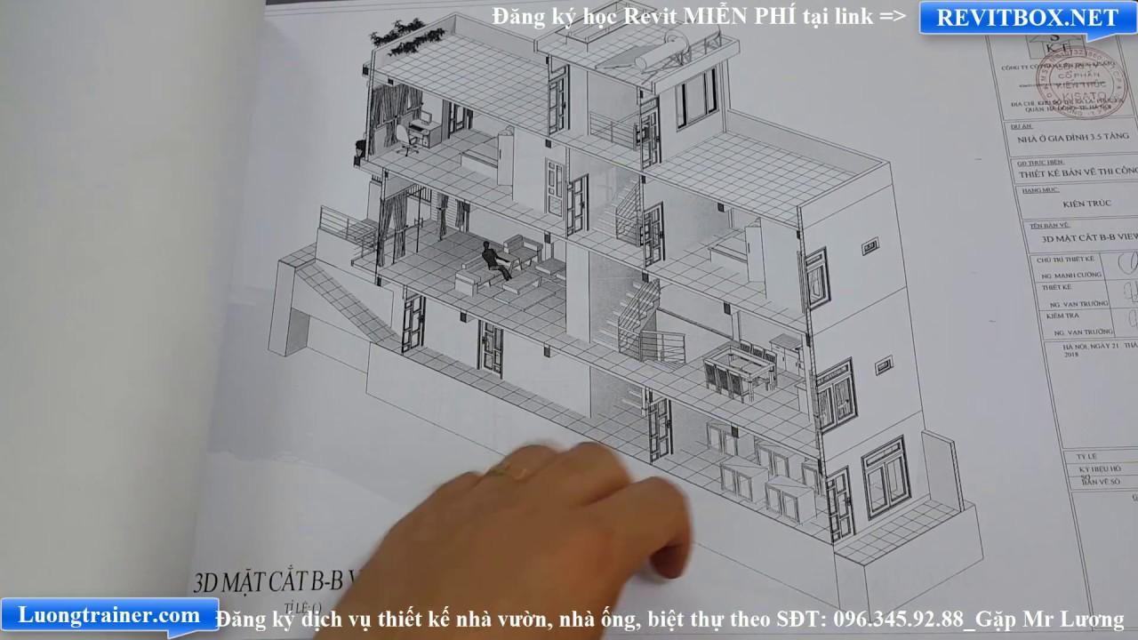 Bản Vẽ Mẫu Nhà Ống 2 Tầng 1 Hầm Đẹp Tại Hà Nam Làm Bằng Phần Mềm Revit 2017-2018-2019