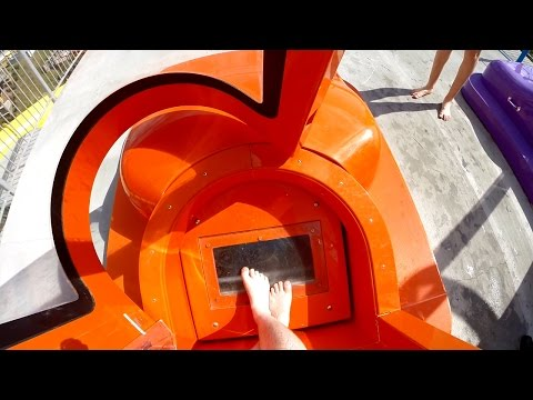 Rapids Water Park - Orange Brain Drain [NEW 2016] SuperLOOP Trapdoor Slide Onride POV