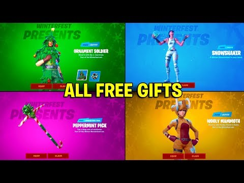 REVEALING ALL 14 FREE PRESENTS From GIFT BOX In ONE VIDEO (Fortnite Winterfest)