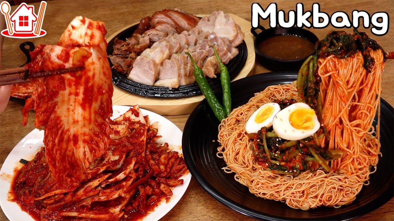 족발, 보쌈과 매콤새콤한 열무비빔국수, 보쌈김치 먹방 Mukbang  Young radish mixed noodles , Bossam , Jokbal