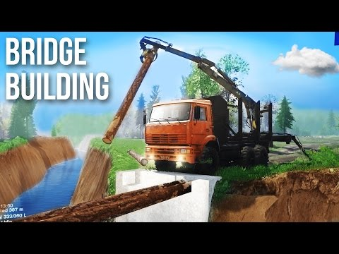 OFF-ROAD 8x8 BRIDGE BUILDING CHALLENGE! SpinTires Mods & Gameplay