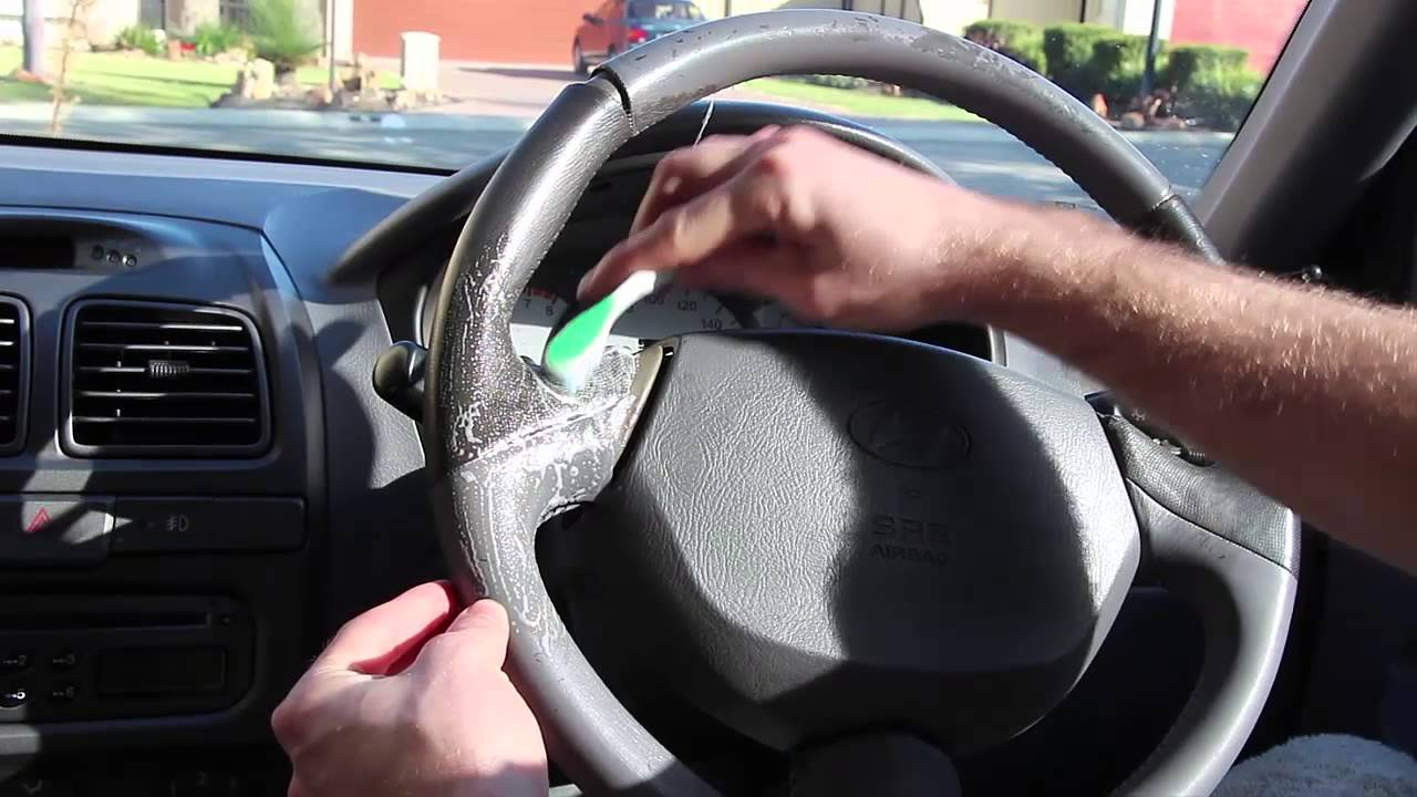 Car interior detailing - Car Detailing Interior Cleaning Steering Wheel And General Dirt Removal
