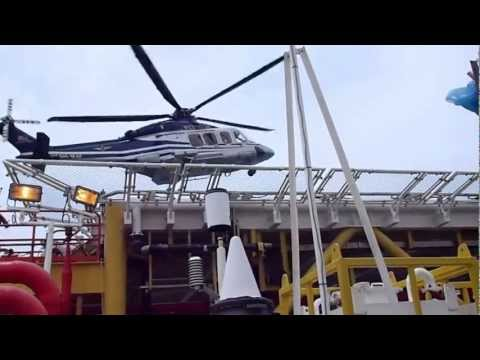 Chopper Landing at Tangga Barat Platform - Petronas Carigali Sdn Bhd, Malaysia.
