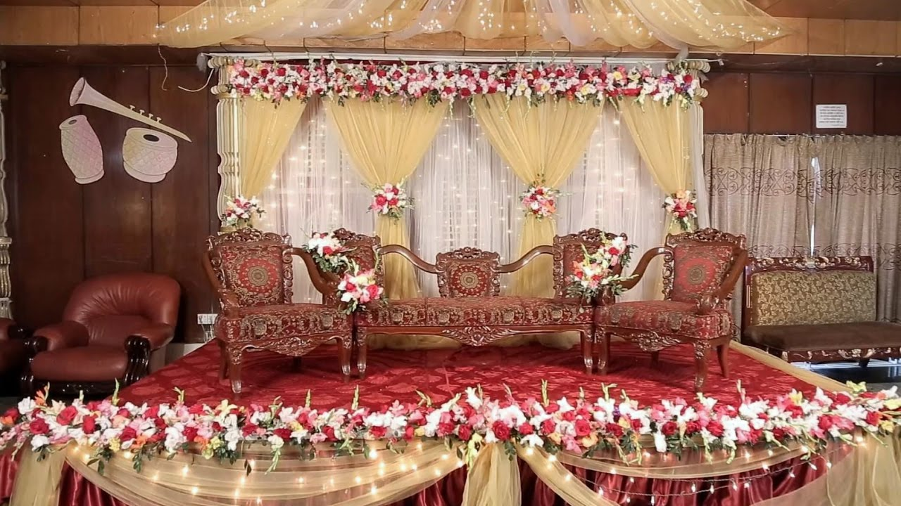 Wedding Stage Decoration With Flowers Simple Hd Youtube