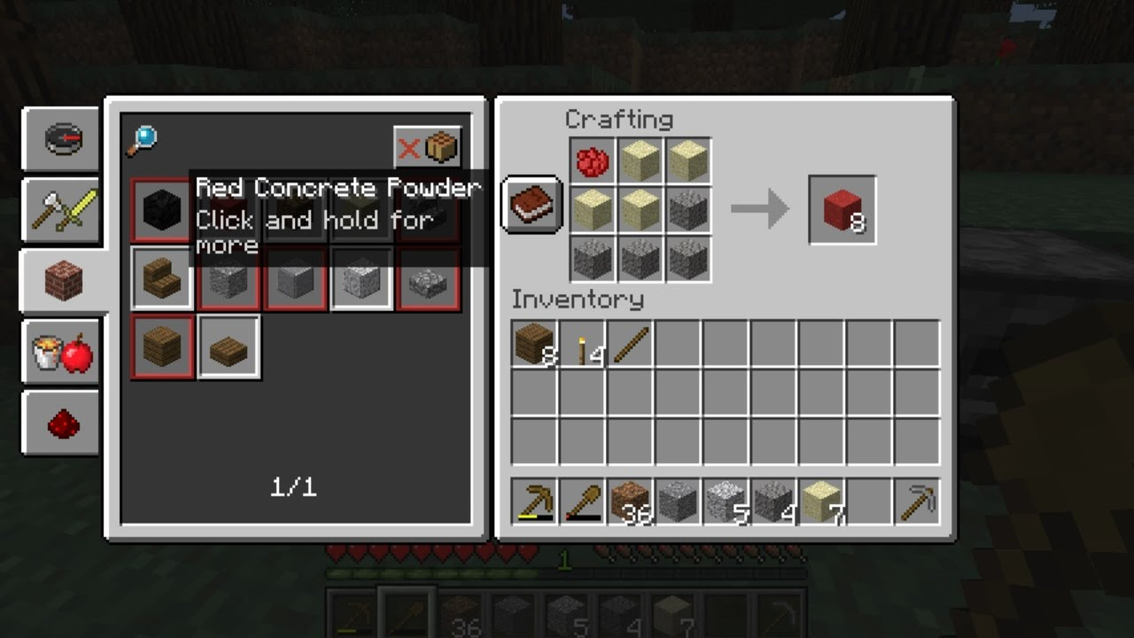 Minecraft - Snapshot - Concrete Recipe Change? - YouTube