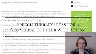 Speech Therapy Ideas for a Nonverbal Toddler with Autism