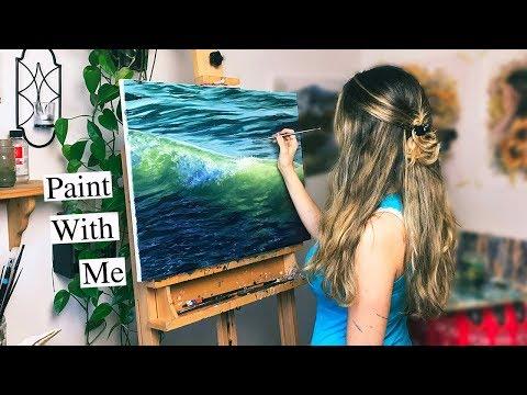 Oil Painting Time Lapse | Ocean Wave Splash